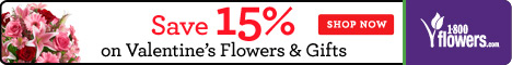 1800flowers Valentine's Day FlexOffers promotional banner sale discount last minute