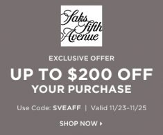 FlexOffers.com, affiliate, marketing, sales, promotional, discount, savings, deals, bargain, banner, blog, Saks Fifth Avenue Black Friday Sales, Black Friday, Saks Fifth Avenue, Christmas, Chanukah, Festivus, holiday, apparel, fashion, clothing, designer