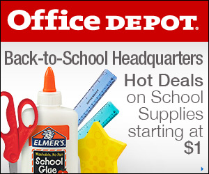 FlexOffers.com, affiliate, marketing, sales, promotional, discount, savings, deals, bargain, banner, blog, Back to School Supply Sale, Office Depot and OfficeMax, Staples, Sam's Club, Target.com, Kohls Department Stores Inc, Groupon, school, supplies, gear, children, kids
