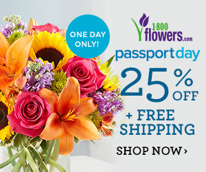 FlexOffers.com, affiliate, marketing, sales, promotional, discount, savings, deals, bargain, banner, blog, 1800flowers.com Passport Day Deals, 1800flowers.com, Passport Day, flowers, bouquets, gifts, annual, anniversary, birthday, Valentine's Day, Mother's Day, weddings, graduation, date night